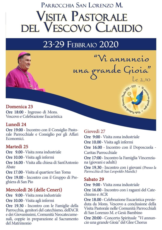 23-29 FEBBRAIO 2020 -VISITA PASTORALE DEL VESCOVO CLAUDIO